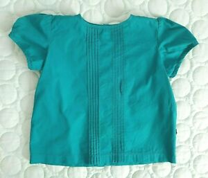 * LACEY LANE *Sz 2 18 -24 Months Teal RIVER Pinch Pleat Short Sleeve Blouse Top!