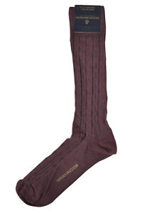 Brooks Brothers Mens 1 Pair Heather Red Cableknit Cotton Dress Socks  8362-7