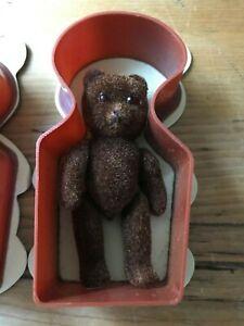 1983 B Shackman NY BABY BEAR Original Box Jointed Furry Flocked Glass Eyes 70417