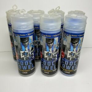 """Lot of 7 Cramer Cool Sports & Activity Cooling Towels Large 27""""x17"""" Blue"""
