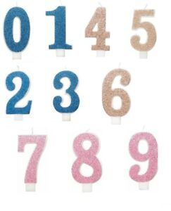 Birthday Cake Toppers Number Candles Party Candle Numbers Gold blue pink glitter