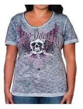 Harley-Davidson Women's Trance Premium Embellished Scoop Neck Tee, Navy