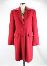 Anne Klein Winter Dress Coat Womens Size 8 Red Lambswool Cashmere Blend Wool