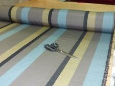 4.6m roll of Faux Silk Curtain Fabric in a stripe of MINK, TEAL & MUTED GOLD