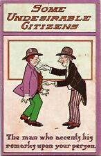 Undesirable Citizens Comic Man Pokes Another Vintage Postcard S04