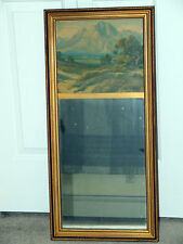 Antique Framed Victorian Wooden Mirror with Scenic Landscape Picture on Top