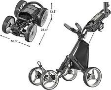 New CaddyTek 4 Wheel Compact Lightweight Folding Golf Bag Push Cart Explorer V8