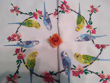 VINTAGE HAND EMBROIDERED TABLECLOTH ~ BUDGERIGARS BUDGIES & BLOSSOM ~  STUNNING