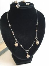 """Rose Design Necklace & Screw Back Earrings delicate Pink Silver Tone 16"""" box set"""