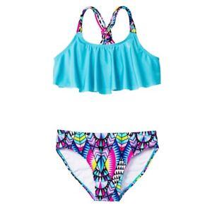 Xhilaration Blue Tribal Flounce Bikini 2-Pc.Set Swimwear Girls XS