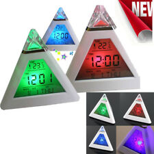 New Fashion Pyramid Temperature 7Colors LED Change Backlit LED Mood Alarm Clock