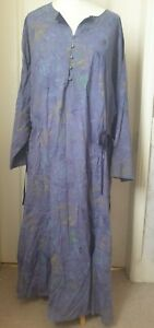 GUDRIN SJODEN Size XXL Blue Dress Linen Blend Dress With Stitching And Side Ties