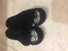Coach Arleen 12cm Signature Shearling Black and Gray Slippers size 6 1/2 NWOT
