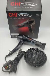 CHI Ceramic Hair Dryer 1875 Watts 3 Heat and 2 Speed Settings Jet Black