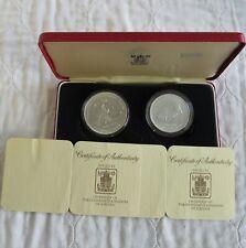 More details for jordan 1977 silver uncirculated gazelle & sunbird 2 coin set - boxed/coa's