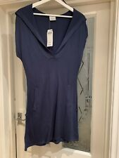 Next Size Small  Blue  Hoodied Dress Pockets Long Top