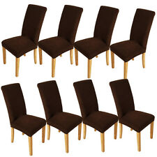 8 Chocolate Washable Stretch Short Dining Room Chair Cover Protector Removable