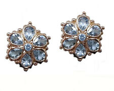 E036 Genuine Solid 9K Rose Gold NATURAL Aquamarine Blossom Stud Daisy Earrings