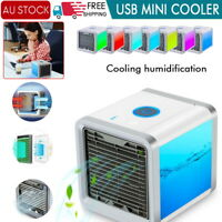 2X Fan Portable Mini Air Cooler Air Conditioner Cool Cooling For Bedroom Desk AU
