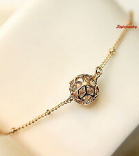 Rose Gold Fill Clear Stone Filigree Ball Bracelet Made With Swarovski Crystal T4