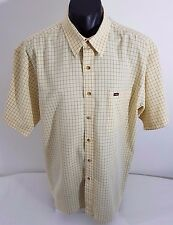 Mens Shirt Yellow Crocodile Jeans Wear Blue Square Lines Smart Casual XL