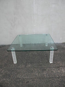 Square Vintage Modern Lucite Acrylic Chrome and Glass Top Coffee Table 5784