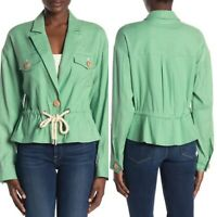 New Veronica Beard Magni Drawstring Waist Jacket in Mint Linen Blend Size Large