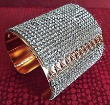 STRIKING! New Runway Designer Sparkling Cabochon Crystal & Gold CUFF BRACELET