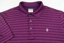 Izod Golf Mens Polyester Short Sleeve Plum Purple Striped Polo Shirt Large