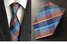 8CM Classic Men Ties Silk Neck Tie Blue Orange Geometric Stripes Necktie Gift