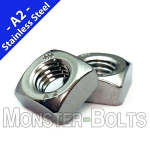 Chamfered Square Nuts DIN 557, A2 Stainless Steel 18-8 Metric Coarse M4 M5 M6 M8