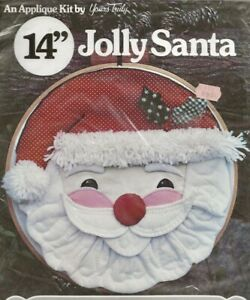 """REDUCED AGAIN!  Vintage 14"""" Jolly Santa Applique Kit - New in Package"""