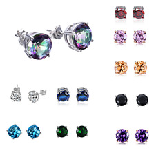 Men Women 925 Sterling Silver Post Round Basket Set Stud Earrings Gift Box PE22