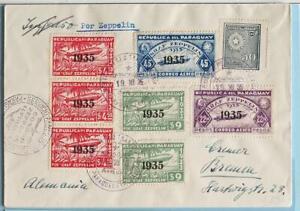 PARAGUAY via BRAZIL > GERMANY 1935 ZEPPELIN, Airship (15th) SAF Flight Reg Cover