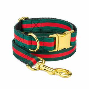 Green Red Striped Designer Dog Collar Leash Adjustable X-Small Medium Large Dogs