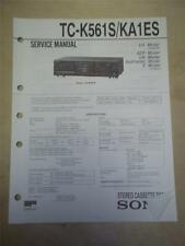 Sony Service Manual~TC--K561S/KA1ES Cassette Deck~Original~Repair