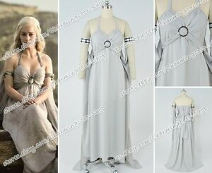 Game of Thrones Mother of Dragons  Daenerys Targaryen Cosplay Dress Costume New