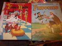 Vintage lot of 2 Playmore Giant Coloring Book Pinocchio Puss N Boots LOTNAT