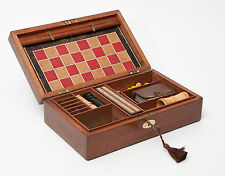 Antique Mahogany Games Box with Steeple Chase Draughts etc - Victorian