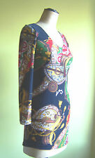 Stretchy multi coloured print dress/tunic/top , Size S/M