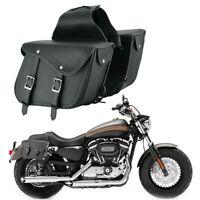 Motorbike Waterproof Pure Leather Saddle Bag Motorcycle Luggage Pannier Bag L+R