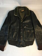 Vintage Leather USN Jacket Men's 40 Peters Bomber Fliers All Weather Faux Fur