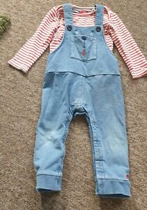 Joules red striped top blue soft denim dungarees age 9-12 months