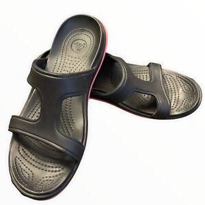 Women Crocs Slide Black Pink Dual Comfort Sandal Size 10 Lightly Worn