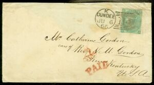 EDW1949SELL : GREAT BRITAIN 1865 cover from Scotland franked w/ Sc #48, SG #101