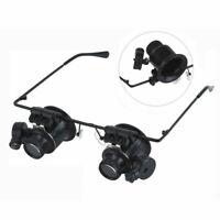 20x fach Juwelier Uhrmacher Lupe Brillenlupe Lupenbrille Reparatur LED S8V5