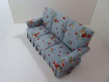 Maison de poupées miniature échelle 1:12 salon meubles Bleu Chintz canapé 3 places