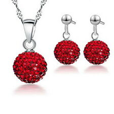 Austrian Crystal Pave Disco Ball Earring Pendant Necklace Rhinestone Jewelry set