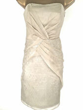 Karen Millen Champagne Silk Sequin Shift Dress Size 14