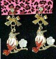 Hot Betsey Johnson Pink Enamel Cute Flower Bird Bow Crystal Stand Earrings Gift